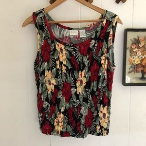 Vintage Stretchy Tropical Floral Tank Top